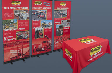 Trade Show graphic samples. Table cloth and pop up banners.